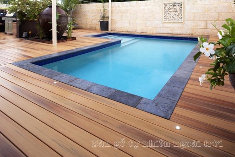 Sàn gỗ tự nhiên lót sàn cho ngoài trời cho lối đi bể bơi