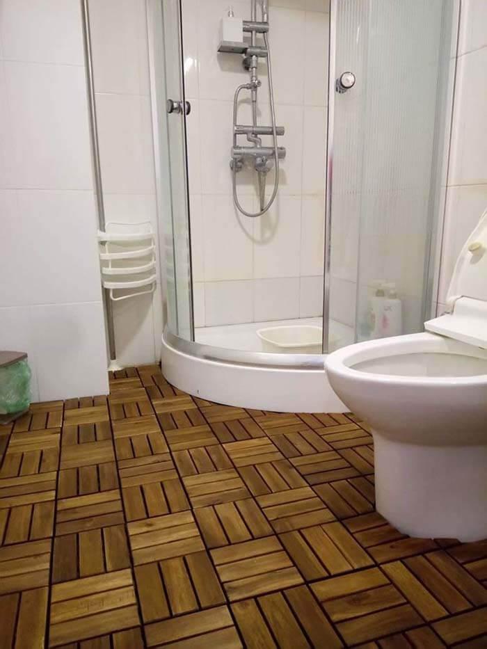 Mẫu gỗ vỉ nhựa lót sàn nhà tắm