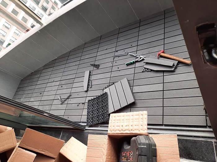 Thi công sàn gỗ vỉ nhựa ngoài trời