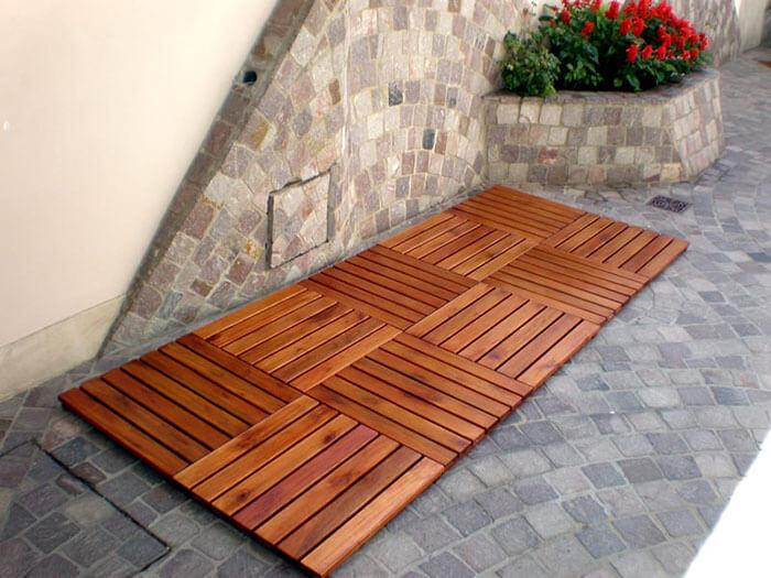 Vỉ gỗ tự nhiên lót sàn ngoài trời