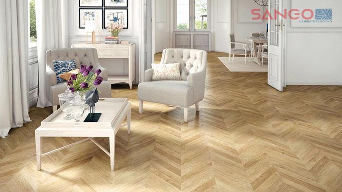 Mẫu sàn nhà ốp lát gỗ công nghiệp theo kiểu xương cá