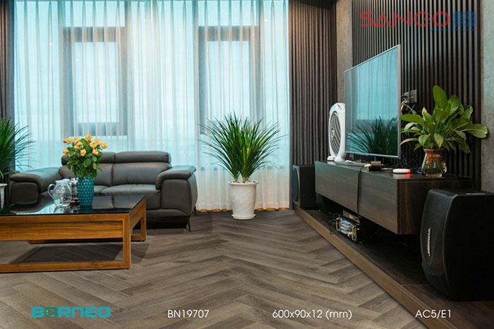 Ốp sàn nhà bằng gỗ kiểu xương cá phong cách hiện đại